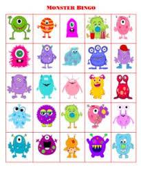 free printable bingo free printable monsters and activities