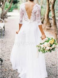 lace top wedding dress a line v neck 3 4 lace sleeves lace top wedding dresses