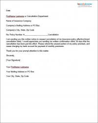 write insurance cancellation letter sample cover templates credit