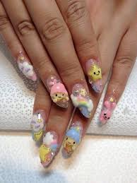 little twin stars nail art so cute posh nail art kawaii