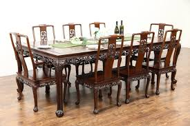 chinese rosewood vintage dining set table 8 chairs hand carved