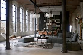an industrial theme of apartment interior design showing a