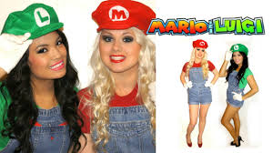 matching halloween costumes for best friends mario and luigi couple halloween costumes diy tutorial youtube