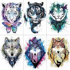 wyuen arm sleeve sticker wolf tiger temporary tattoos