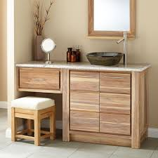 modern carbonized white oak wood vanity with black glass top mount