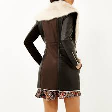 river island dark brown faux sheepskin coat in brown lyst