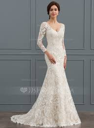 wedding dresses trumpet mermaid v neck sweep lace wedding dress 002127261
