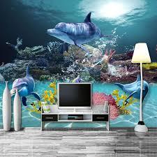 dolphin home decor custom photo wallpaper mediterranean style 3d sea world coral