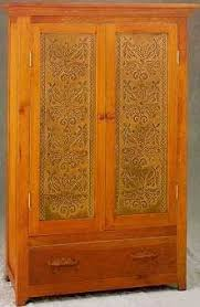 cherry cabinet doors for sale cabinet panel insert metal tin punched wheat rustic pie safe country