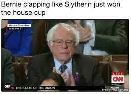 State Of The Union Meme - bernie clapping like slytherin just won the house cup 2018 state
