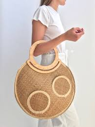 vintage round circle woven raffia straw basket bag large