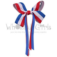 blue and white striped ribbon striped hair bow with clip and ribbons white and blue