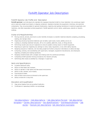 Driver Sample Resume by 28 Forklift Operator Job Description For Resume Best