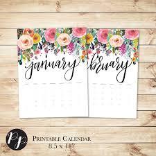 printable calendar 2016 etsy desk calendar 2016 handlettered printable wall desk calendar floral