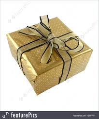 wrapped gift box picture of gold wrapped gift
