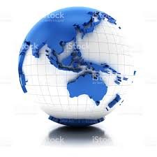 asia globe map globe with extruded map of australia and asia clipping path stock