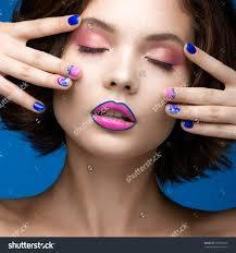 nail polish beautiful model bright colored makeup nail