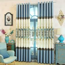 Luxury Linen Curtains Blue And White Damask Embroidery Jacquard Linen Luxury Curtains