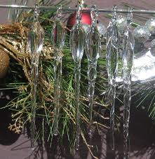 set of 6 blown glass icicles ornaments