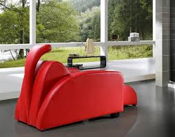 rosso modern red leather lounge chair and ottoman