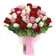 always pretty a beautiful arrangement of 30 red pink and white