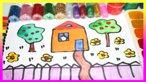 how to draw and paint house tree in the garden with watercolor