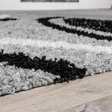 teppich 300 x 400 moderner hochflor teppich shaggy vigo gemustert in grau schwarz