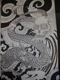 japanese dragon and skull tattoo design by magentamorbid666 on