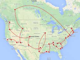 road trip map of usa road trip map across america all world maps