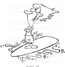 vector cartoon happy surfer riding wave outlined
