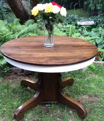 Antique Oak Dining Tables Antique Oak Pedestal Table Refinished In Annie Sloan Pure White