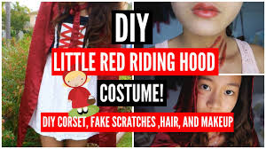 little red riding hood costume fake scratches diy corset hair and