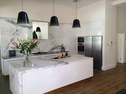 White Kitchen Island With Stainless Steel Top by White Gloss 2 Pac Kitchen With Marble Island And Splashback Rear