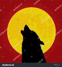 halloween wolf howls front moon vector stock vector 63154429