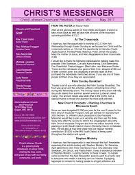 Out Of Comfort Zone Activities May 2017 Newsletter By Christ Lutheran Eagan Issuu