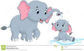cartoon mother elephants bathing her child stock illustration