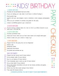 free printable kids u0027 party planning checklist birthday party
