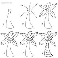 a nice cartoon palm tree can easily be drawn using these six