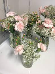 Carnation Flower Ball Centerpiece by Mason Jars Pink Carnation Flower Centerpieces With Baby U0027s Breath