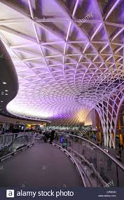 night time kings cross railway station departure concourse with