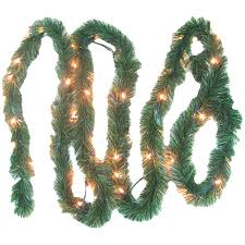 9 x 10 pre lit battery operated pine garland warm