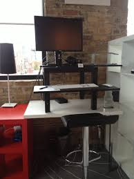 Adjustable Height Desk Diy by Diy Tiered Standing Computer Desk And Black Leather Adjustable