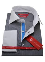 mens stripe dress shirt cotton spread collar french cuff