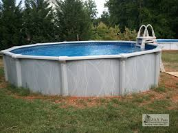 pool image of round white above ground backyard pool