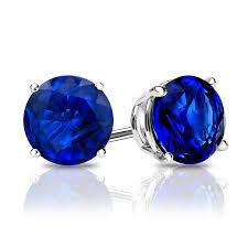 blue stud earrings 14k white gold 4 prong basket blue sapphire gemstone stud