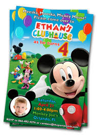 4 original mickey mouse clubhouse photo birthday invitations
