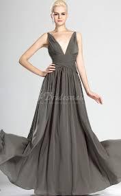 a line v neck long silver chiffon bridesmaid dresses bd536
