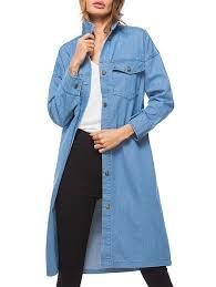 light blue trench coat pockets long denim coat in light blue one size sammydress com