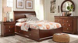cherry sleigh bed oberon cherry 5 pc full sleigh bedroom teen bedroom sets dark wood