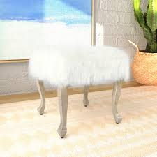 Faux Fur Ottoman Homepop Faux Fur Ottoman With Wood Legs White Homepop